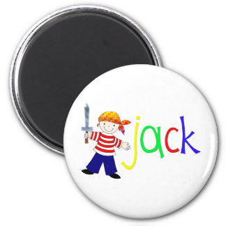 Jack with pirate illustration 2 inch round magnet