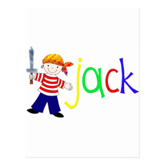 Jack with pirate illustration postcard