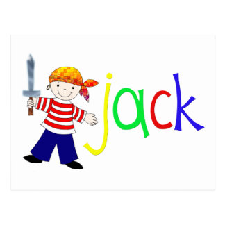 Jack with pirate illustration postcard