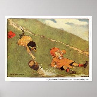 Jack y Jill bajaron abajo la impresión de la poesí Poster