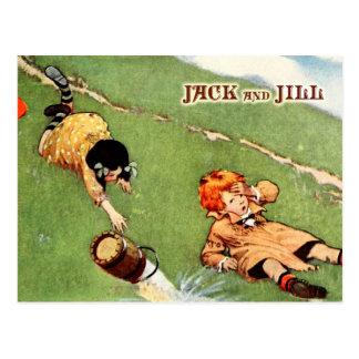 Jack y Jill que caen abajo de la colina Tarjeta Postal