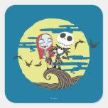 Jack y luna de Sally Calcomanía Cuadradas Personalizadas