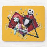 Jack y Sally en corazón Alfombrilla De Ratón