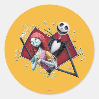 Jack y Sally en corazón Pegatinas Redondas