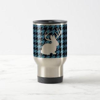 Jackalope Blue Black Houndstooth Travel Mug