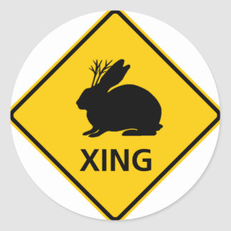 Jackalope Crossing Highway Sign Classic Round Sticker