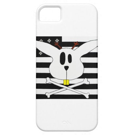 Jackalope faced black and white flag. iPhone 5 covers