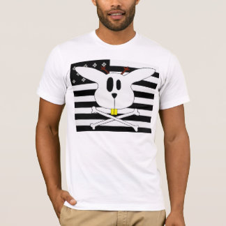 Jackalope faced black and white flag. T-Shirt