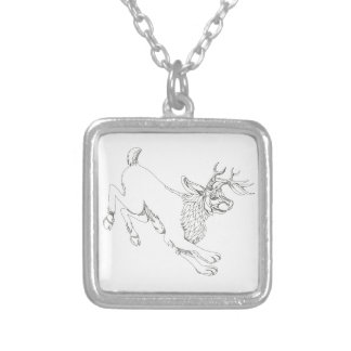 Jackalope Hopping Doodle Art Silver Plated Necklace