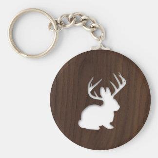 Jackalope on Dark Brown Wood Keychain