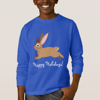 Jackalope: Rabbit with Antlers and Rudolph Nose T-Shirt