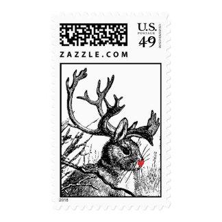 Jackalope reindeer head Postage