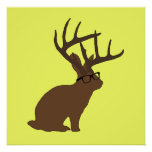 jackalope with glasses poster