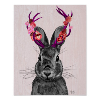 Jackalope with Pink Antlers Poster