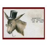 Jackass en un vintage del sombrero de copa postales