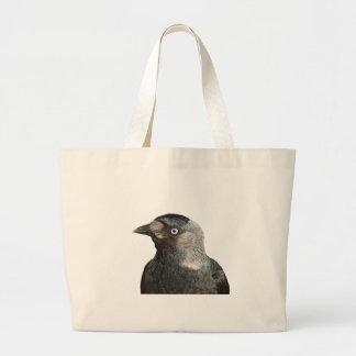 Jackdaw Bird Portrait Vector Large Tote Bag
