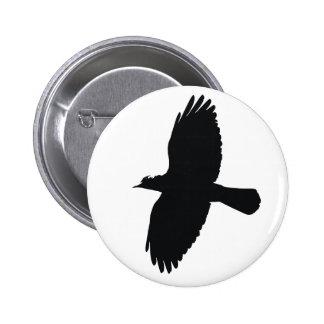 Jackdaw In Flight Silhouette Pinback Button