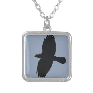 Jackdaw In Flight Square Pendant Necklace