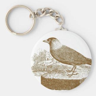 Jackdaw Vintage Woodcut Basic Round Button Keychain