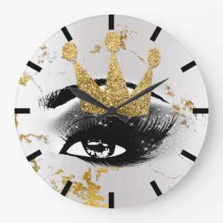 Jacke Princess Of Lashes Silver Gray Gold Marble Large Clock