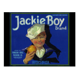 Jackie Boy Holding an Apple Postcard