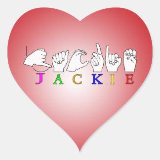 JACKIE NAME ASL FINGERSPELLED SIGN HEART STICKER