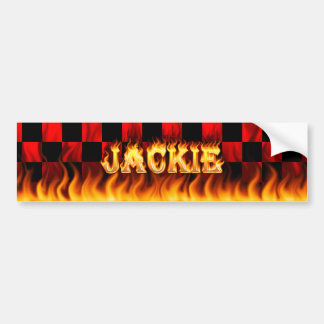 Jackie real fire and flames bumper sticker design.