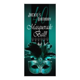 Jackie UK Teal Black Masquerade 40th Birthday Personalised Invite
