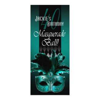 Jackie UK Teal Black Masquerade 40th Birthday 4x9.25 Paper Invitation Card