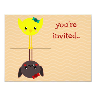 "jackill bird bat 4.25"" x 5.5"" invitation card"