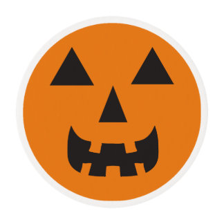 Jackolantern Face Icing Topper Edible Frosting Rounds