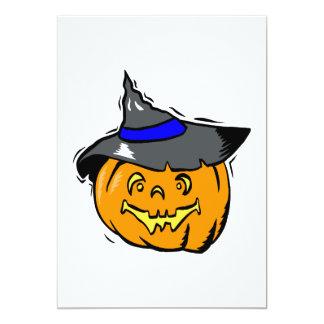 Jackolantern in witches hat custom invitation