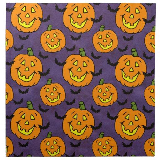Jackolanterns feliz y palos servilletas de papel