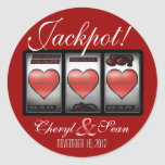 Jackpot Hearts We're Doing It In Vegas (Large) Round Stickers