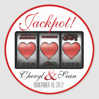 Jackpot Hearts We're Doing It In Vegas (Small) Classic Round Sticker