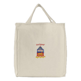 Jackpot Slots Embroidered Tote Bag