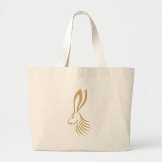Jackrabbit en estilo del dibujo del chasquido bolsa tela grande