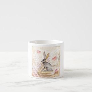 Jackrabbit watercolor vintage collage background espresso cup