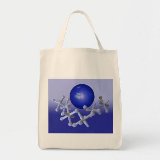 Jacks and Ball Tote Old Fashioned Retro Toy Blue