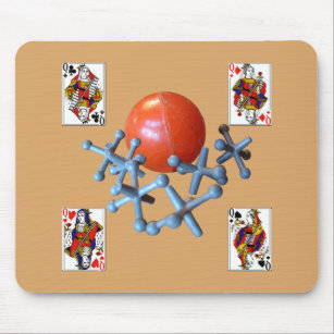 Jacks And Ball Toy Game 1960s Retro Classic Mouse Pad