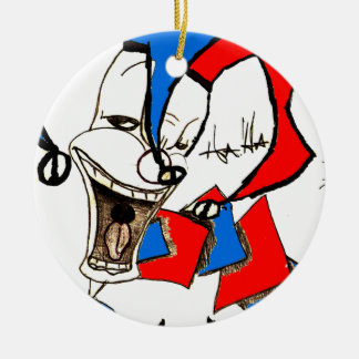 Jacks in the Box (Clown Sketch) Double-Sided Ceramic Round Christmas Ornament