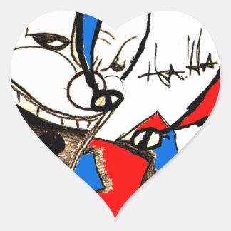 Jacks in the Box (Clown Sketch) Heart Sticker