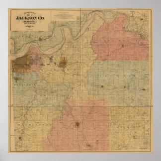 Jackson County, Missouri Antique Map Poster