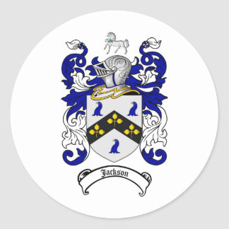 JACKSON FAMILY CREST -  JACKSON COAT OF ARMS CLASSIC ROUND STICKER
