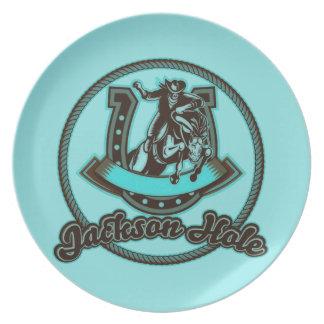 Jackson Hole Cowboy Mint Melamine Plate