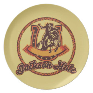 Jackson Hole Cowboy Red Dinner Plate