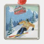 Jackson Hole, esquiador de Wyoming y tranvía Adornos De Navidad