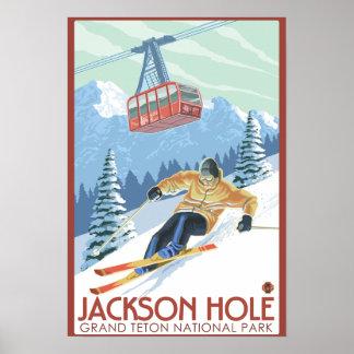 Jackson Hole esquiador de Wyoming y tranvía Impresiones