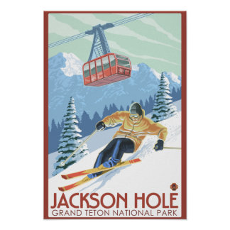 Jackson Hole, esquiador de Wyoming y tranvía Póster