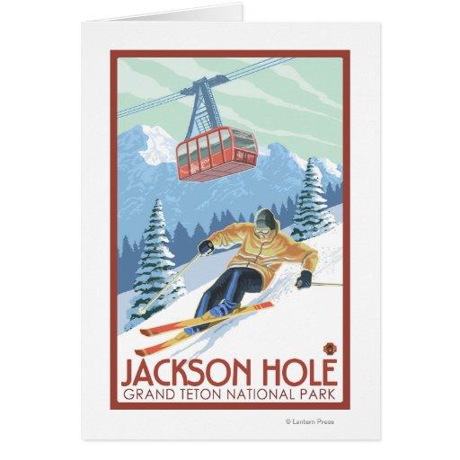 Jackson Hole, esquiador de Wyoming y tranvía Tarjeton